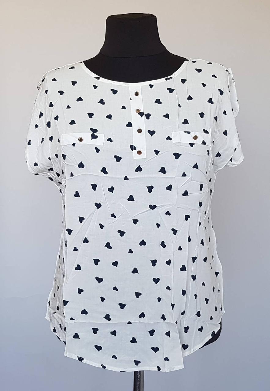 Жіноча блузка в кольорах в принт сердечка