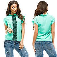 Женская летняя блуза с кружевной вставкой спереди, фото 1