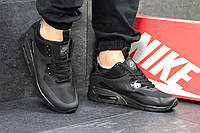 Кроссовки мужские в стиле Nike Air Max 90 Ultra Mid код товара SD1-4497 Материал натуральная кожа,подошва пена.Черные