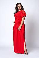 Шикарне довге літнє плаття червоного кольору, фото 1