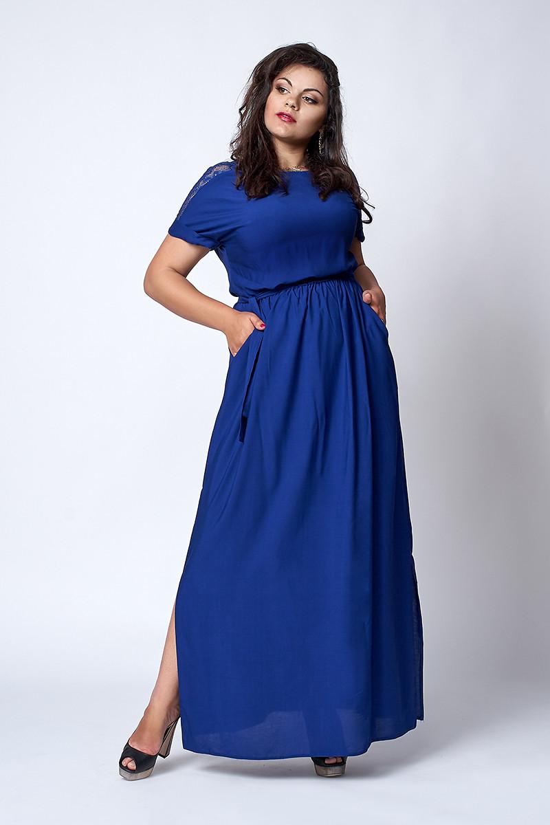9ee5b8d4061 Летнее длинное женское платье больших размеров темно-синее  продажа ...