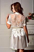 Атласный халат для невесты с кружевной спинкой Айвори (Жемчужный) , фото 1