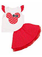 Летний комплект для девочки топ и юбка с фатином оптом