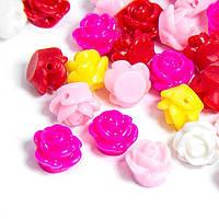 Бусины из Смолы, Цветок, Цвет: Микс, Размер: 9x7мм, Отверстие 1мм, (УТ100006247)