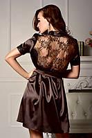 Легкий атласный халат с кружевной спинкой и коротким рукавом Шоколад, фото 1