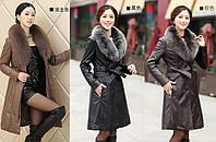 Кожаное пальто плащ с мехом 3 цвета