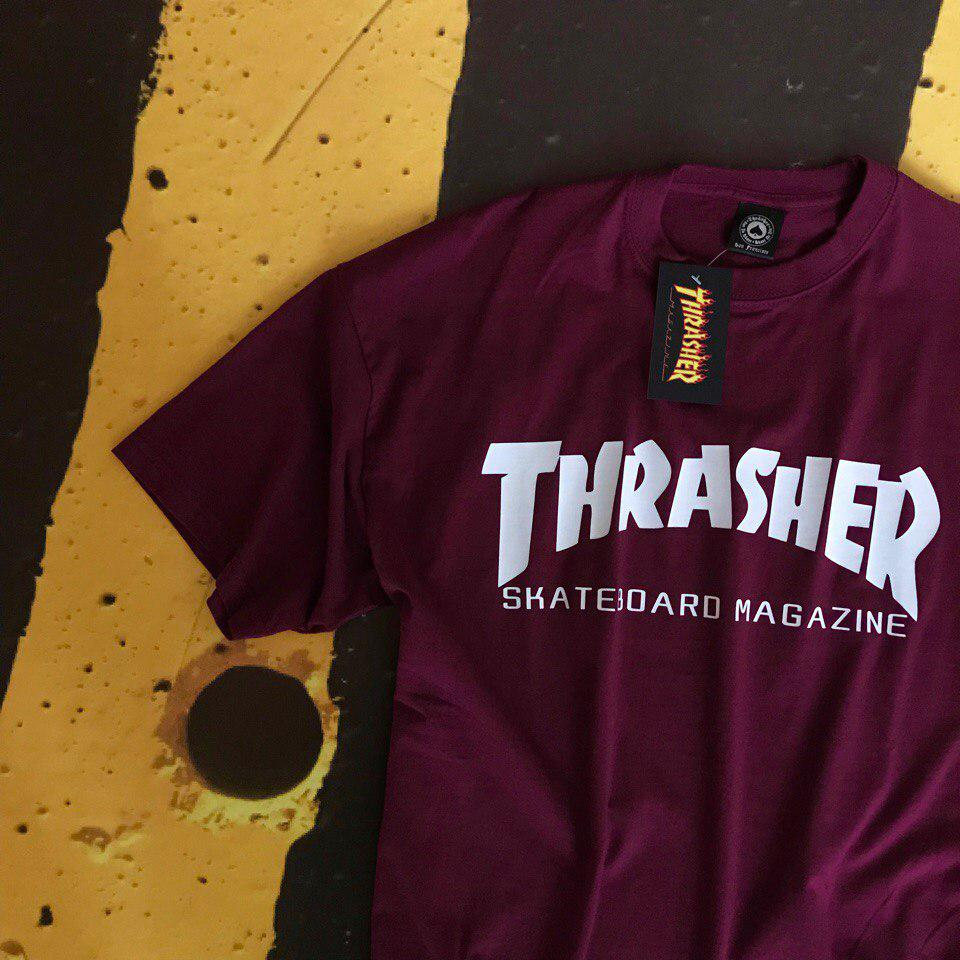 Футболка Thrasher Flame Logo мужская бордовая | Ориг Бирки Трешер с пикой | Качественная реплика