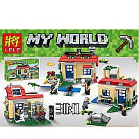 Конструктор по мотивам игры Майнкрафт(Minecraft) 3 в 1, три варианта дома, фигурки, 366 деталей,33076