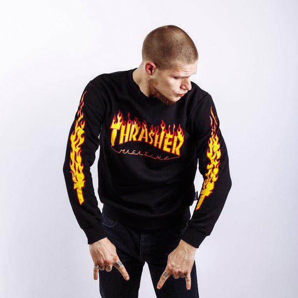 Свитшот мужской с принтом Thrasher Flame | Реглан |