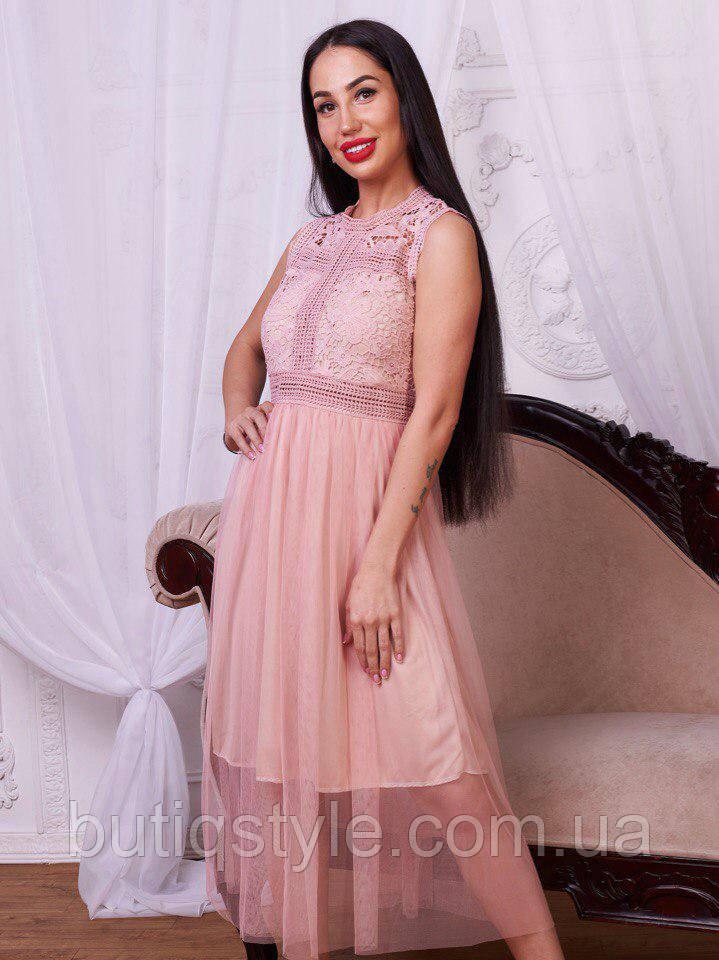 Красиве стильне плаття гіпюр + фатин тільки пудра