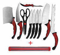 Набор кухонных ножей Contour Pro Knives (Контр Про) из 10 предметов + подарок магнитная рейка