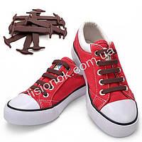 Коричневые силиконовые шнурки для подростков и взрослых 12 шт.
