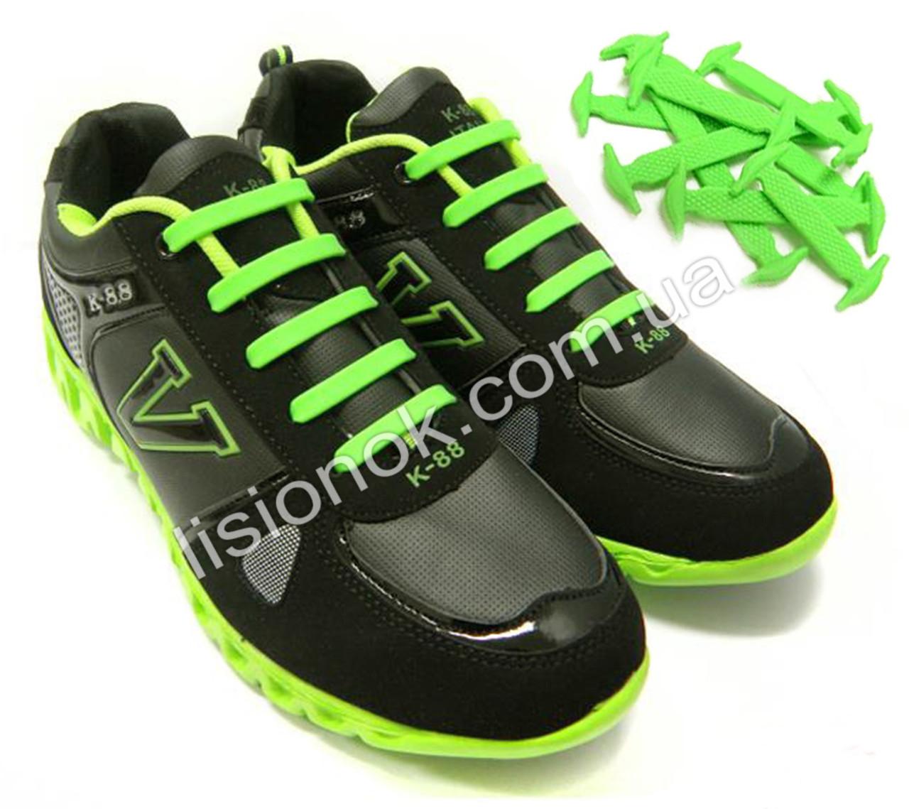 Салатовые силиконовые шнурки для подростков и взрослых 12 шт.