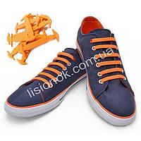 Оранжевые силиконовые шнурки для подростков и взрослых 12 шт.