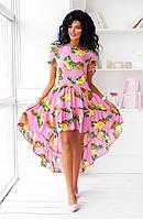 """Летнее асимметричное платье """"Тропикана"""" с принтом и  коротким рукавом (2 цвета)"""