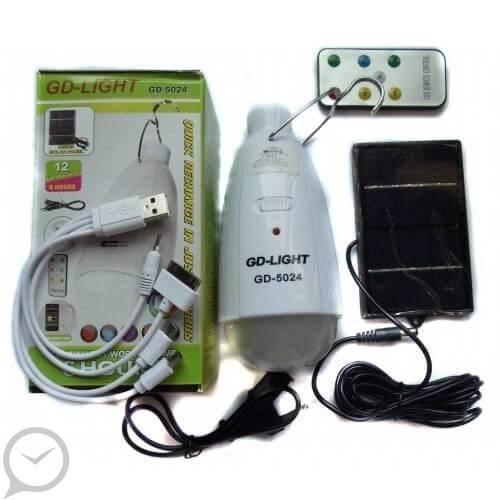 Лампа и Power Bank 1200 mAh с пультом и солнечной панелью.