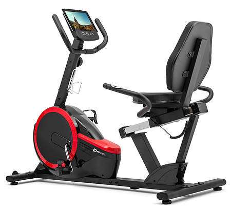 Горизонтальный велотренажер магнитный Hop-Sport HS-060L Pulse Red до 130 кг / гарантия 2 года