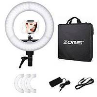 """Кольцевой LED осветитель ZOMEI (14"""") с димером - для портретной, бьюти и селфи съемки"""