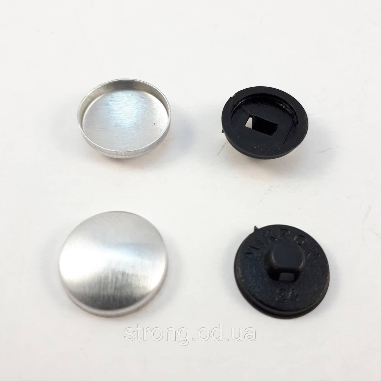 Пуговица под обтяжку на пластиковой ножке №24 - 14,3 мм Черная