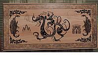 """Нарды деревянные большие 55 х 55 см. """"Индийский дракон"""". Шахматная доска. Классические."""