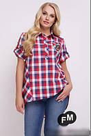 Летняя рубашка в клетку асимметричная, с 48-58 размер, фото 1