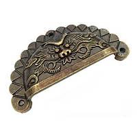 Ручка для ящика декоративна, бронза 70х35 мм