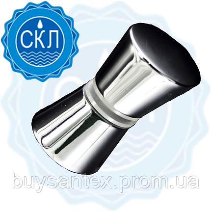 Ручка для дверей душевой кабины ( H-01 ) Металлическая, хромированная, на одно отверстие., фото 2