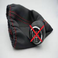 Чехол КПП короткий BK Кожзам черный+ красная нитка Avtoban, фото 1