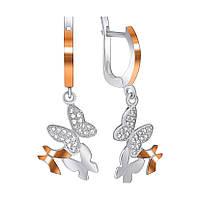 Серебряные сережки с золотыми накладками и фианитами 000070784