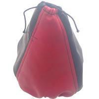 Чехол КПП короткий кожзам черный- красный BK/ RD