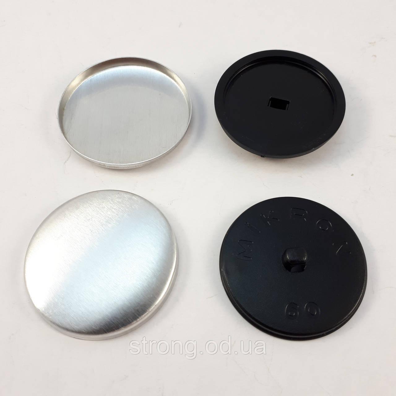 Пуговица под обтяжку на пластиковой ножке №60 - 37 мм Черная