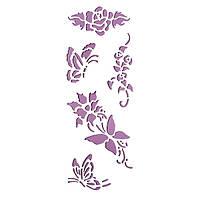 Трафарет 11х33 см Квіти і метелики
