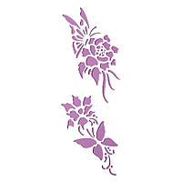 Трафарет 11х33 см Бабочка на цветке