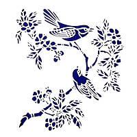 Трафарет декоративный 22х33 см Птички на ветке