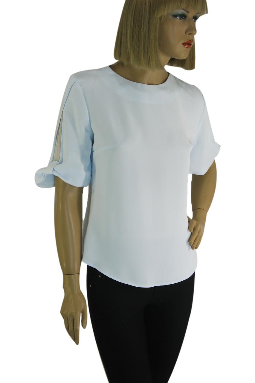 Блузка нарядна голуба з коротким рукавом Miss Poiss
