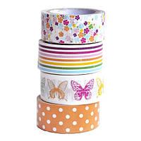 Набор бумажных скотчей 15 мм х 5 м Бабочки, 4 шт. Heyda