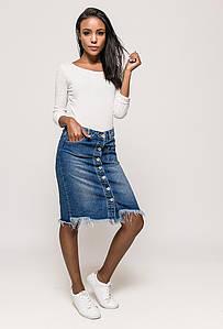 Рваная джинсовая юбка на пуговицах спереди Lexxury (Франция) Синий