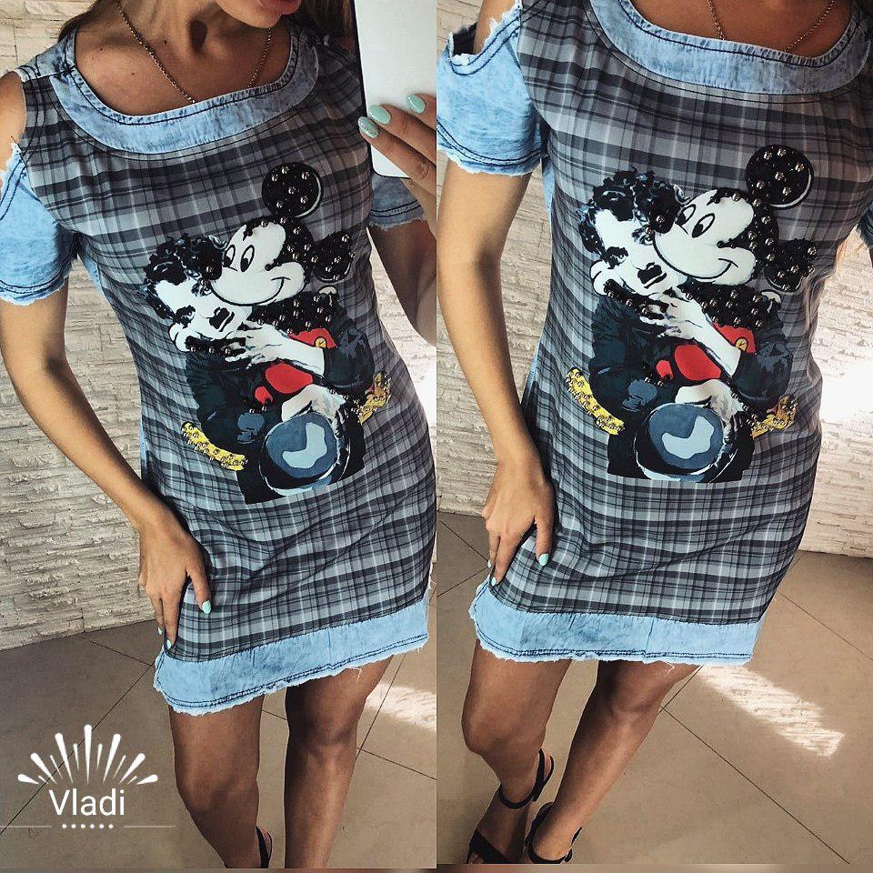 Платье. Облегченный джинс. Размеры С,М,Л,ХЛ.  Турция.(9044)