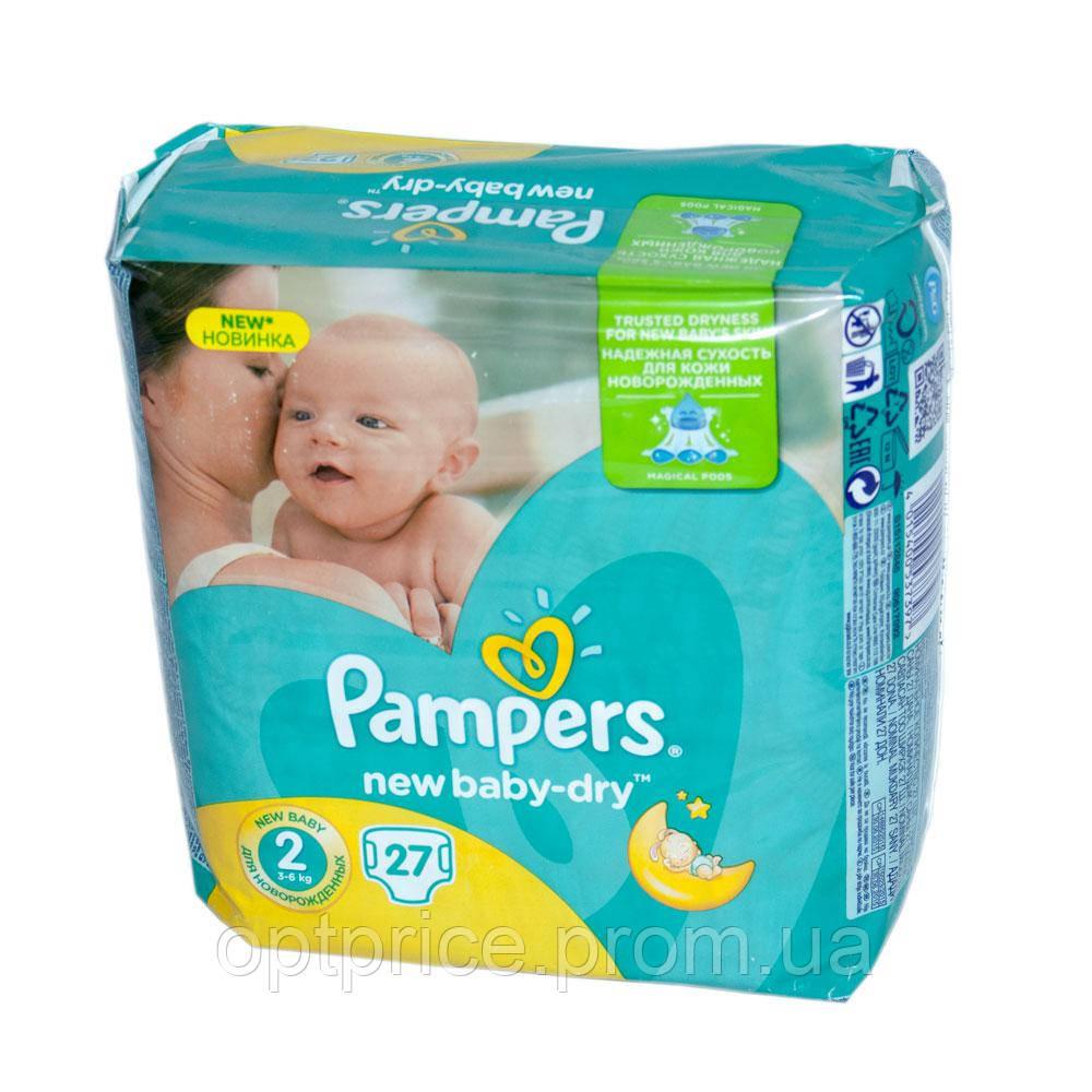 Подгузники Pampers New Baby-Dry Размер 2 (Mini) 3-6 кг, 27 подгузников  (4015400537397) a7aae595cff