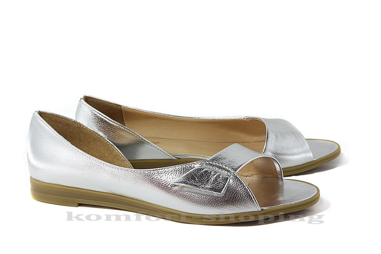 Женские босоножки кожаные, серебряные V 804/1  38 размер