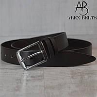 Ремень мужской брючный(черный) кожаный гладкий 35 мм - купить оптом в Одессе