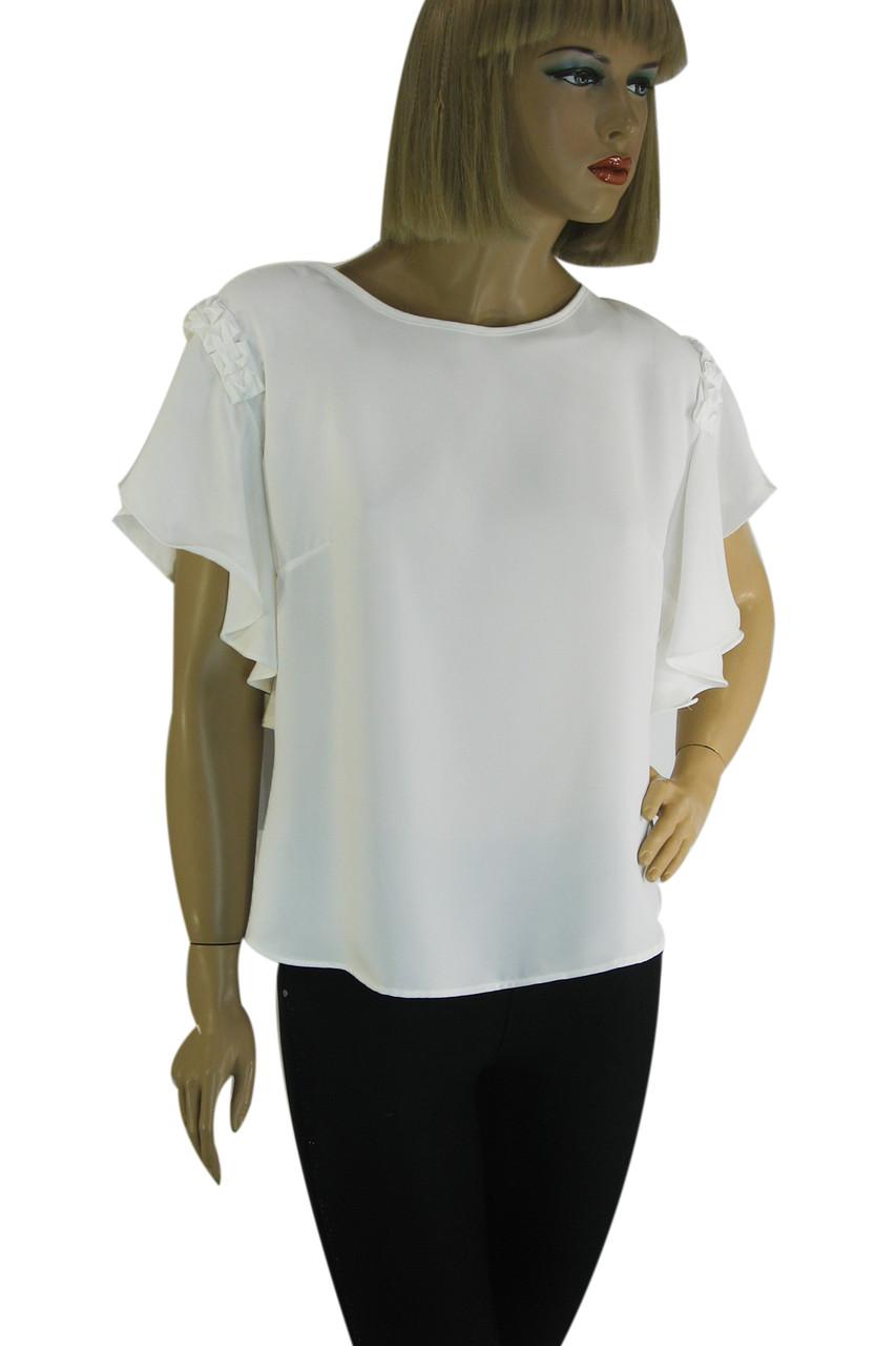 Нарядна  блузка з короткими рукавами воланами Miss Poiss