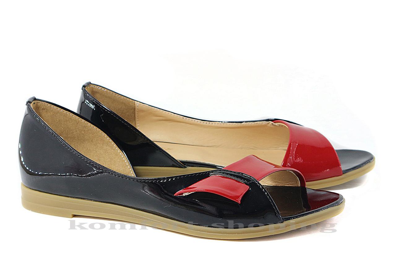 Женские босоножки лаковые, черные  V 804/1