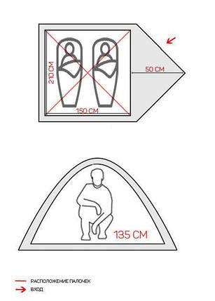 Палатка двухместная GreenCamp 1001A, 210 х 200 х 135 см, фото 2