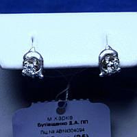 Серебряные серьги-пусеты Дельфин с фианитом сс 542 пус, фото 1