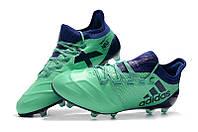 Футбольные бутсы adidas X 17.1 leather FG Aero Green/Unity Ink/Hi-Res Green