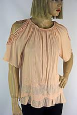 Блузка з коротким рукавом і відкритими плечами з мереживом і вишивкою, фото 3