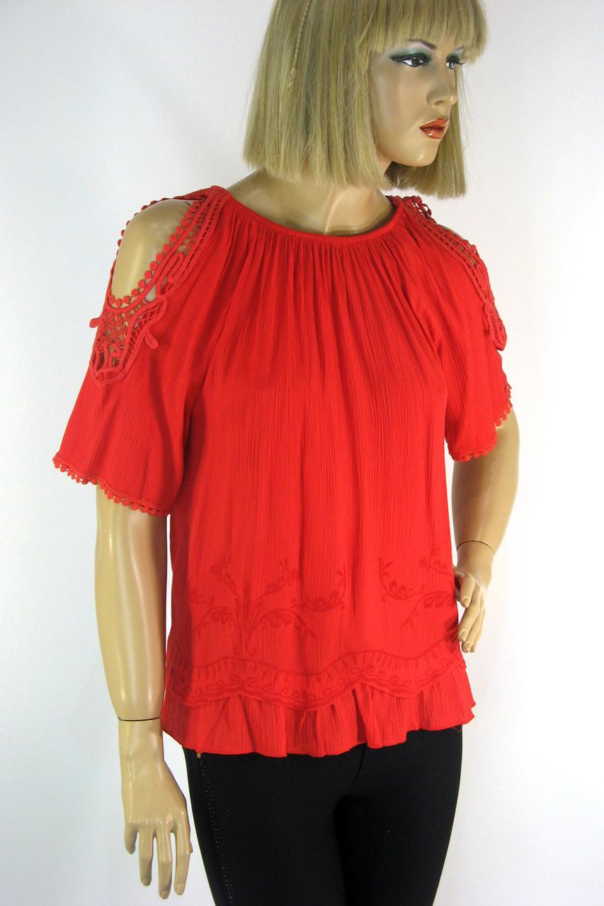 Блузка з коротким рукавом і відкритими плечами з мереживом і вишивкою