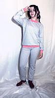 Костюм спортивный  Сірий костюм з персиковими або синіми манжетами