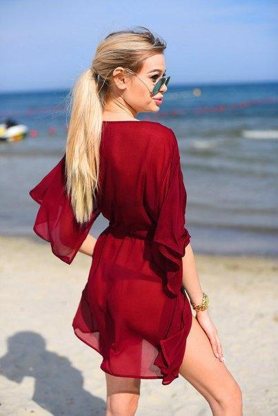 Шифоновая пляжная туника бордо